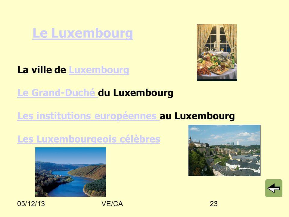 05/12/13VE/CA23 Le Luxembourg La ville de Luxembourg Le Grand-Duché du Luxembourg Les institutions européennes au Luxembourg Les Luxembourgeois célèbresLe LuxembourgLuxembourg Le Grand-Duché Les institutions européennes Les Luxembourgeois célèbres