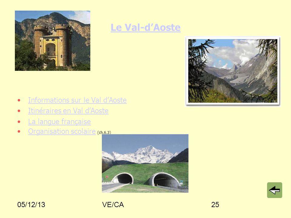 05/12/13VE/CA25 Le Val-dAoste Informations sur le Val dAoste Itinéraires en Val dAoste La langue française Organisation scolaire (ch.6.3)Organisation
