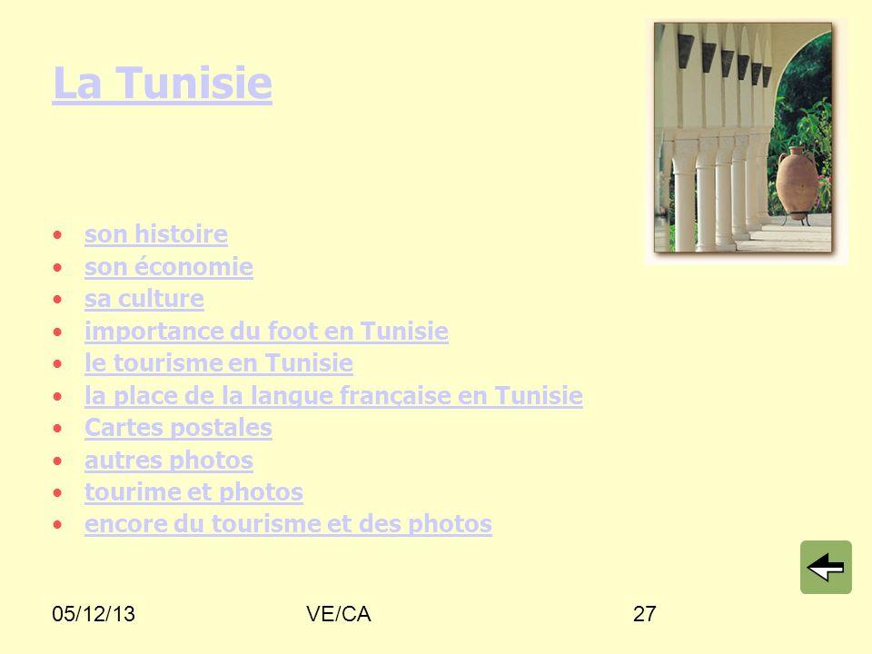 05/12/13VE/CA27 La Tunisie son histoire son économie sa culture importance du foot en Tunisie le tourisme en Tunisie la place de la langue française e