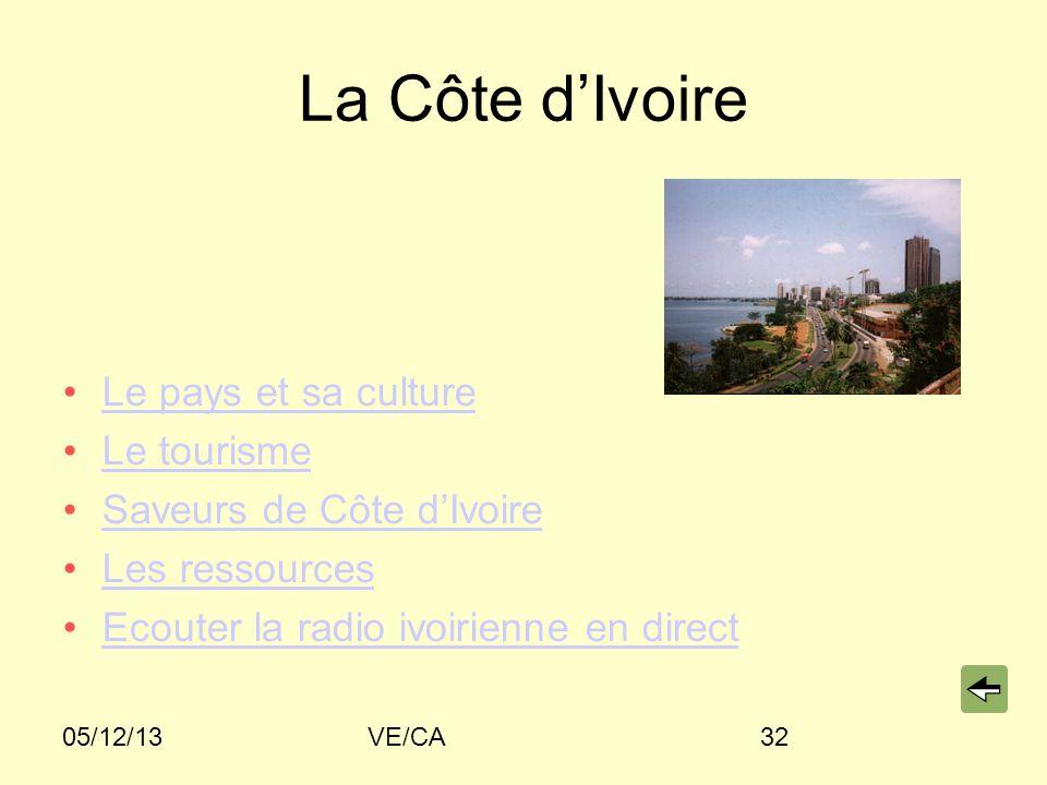 05/12/13VE/CA32 La Côte dIvoire Le pays et sa culture Le tourisme Saveurs de Côte dIvoire Les ressources Ecouter la radio ivoirienne en direct