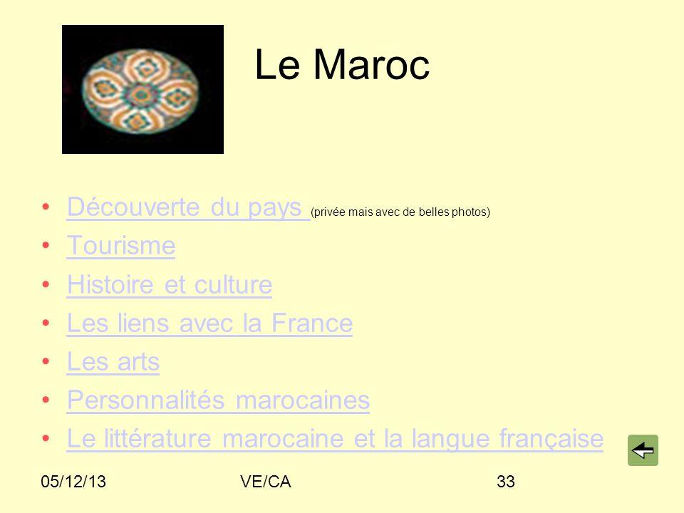05/12/13VE/CA33 Le Maroc Découverte du pays (privée mais avec de belles photos)Découverte du pays Tourisme Histoire et culture Les liens avec la France Les arts Personnalités marocaines Le littérature marocaine et la langue française