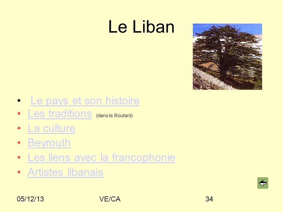 05/12/13VE/CA34 Le Liban Le pays et son histoire Les traditions (dans le Routard)Les traditions La culture Beyrouth Les liens avec la francophonie Artistes libanais
