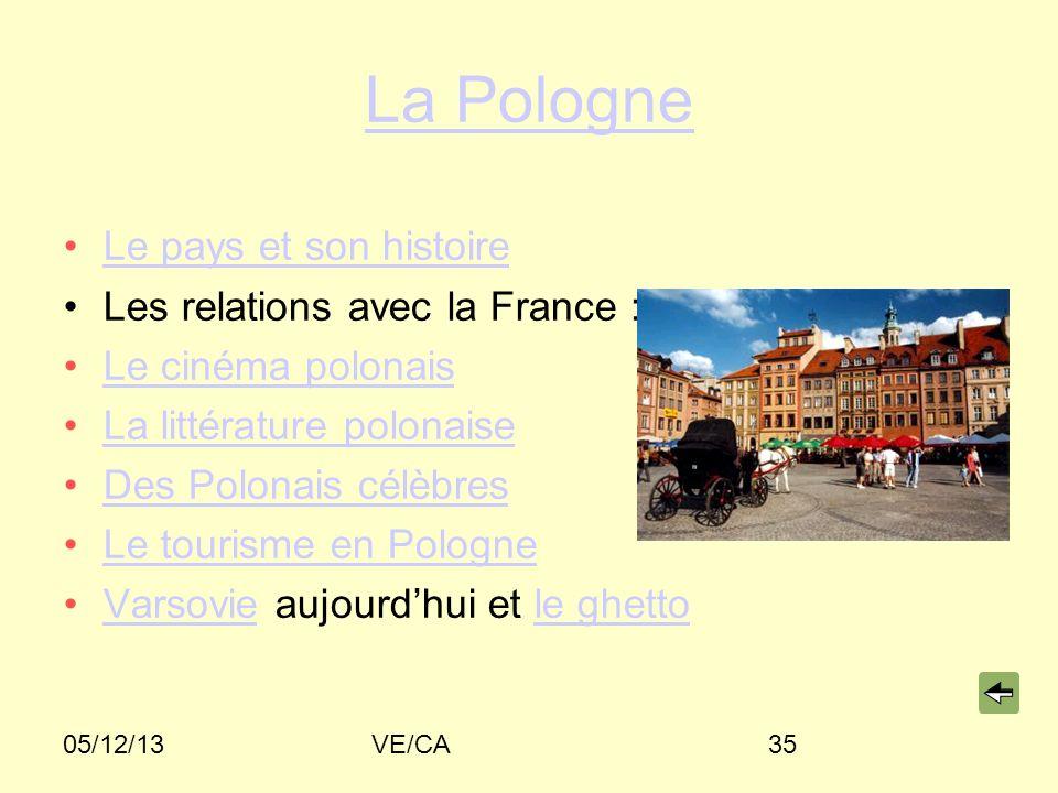 05/12/13VE/CA35 La Pologne Le pays et son histoire Les relations avec la France : hier et aujourdhuihieraujourdhui Le cinéma polonais La littérature p