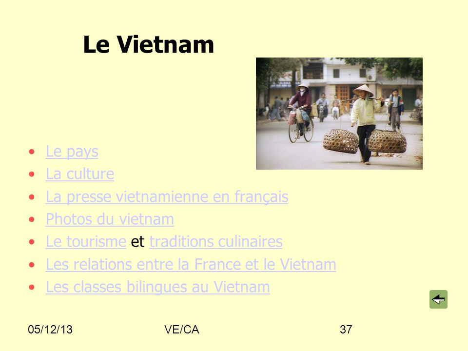 05/12/13VE/CA37 Le Vietnam Le pays La culture La presse vietnamienne en français Photos du vietnam Le tourisme et traditions culinairesLe tourismetrad