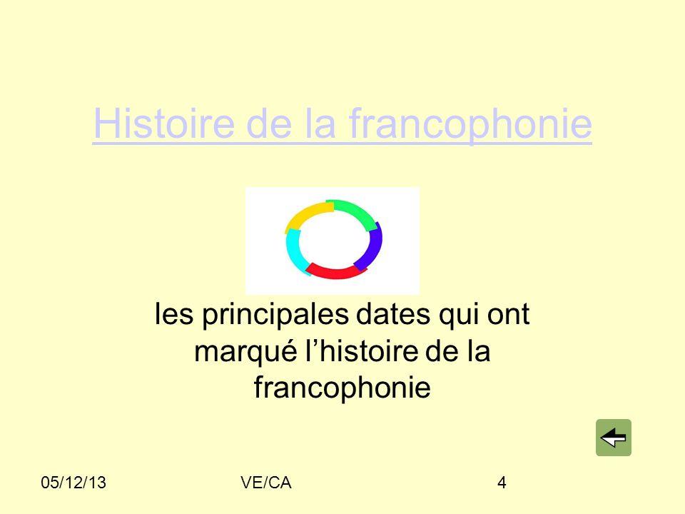 05/12/13VE/CA4 Histoire de la francophonie les principales dates qui ont marqué lhistoire de la francophonie