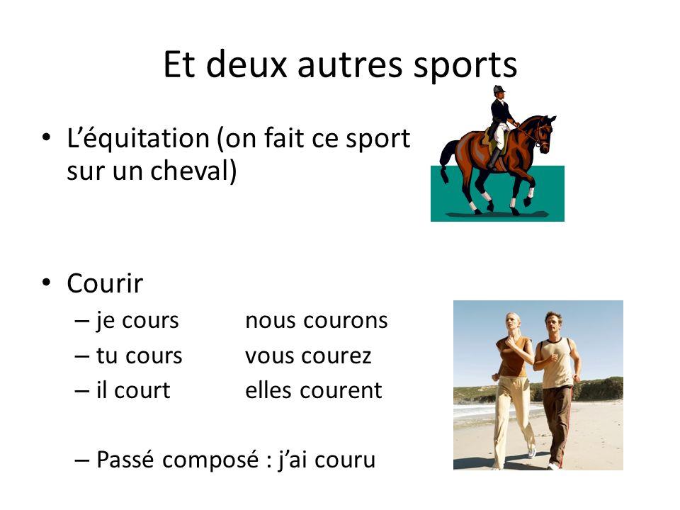 Et deux autres sports Léquitation (on fait ce sport sur un cheval) Courir – je coursnous courons – tu coursvous courez – il courtelles courent – Passé