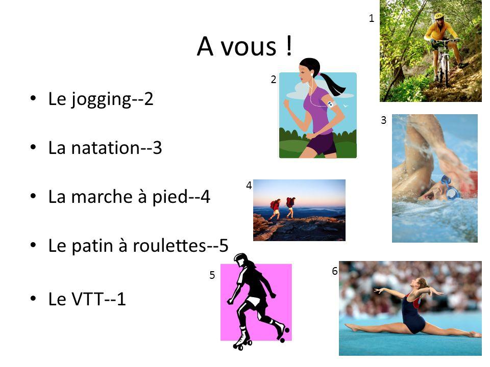 A vous ! Le jogging--2 La natation--3 La marche à pied--4 Le patin à roulettes--5 Le VTT--1 1 2 3 5 4 6