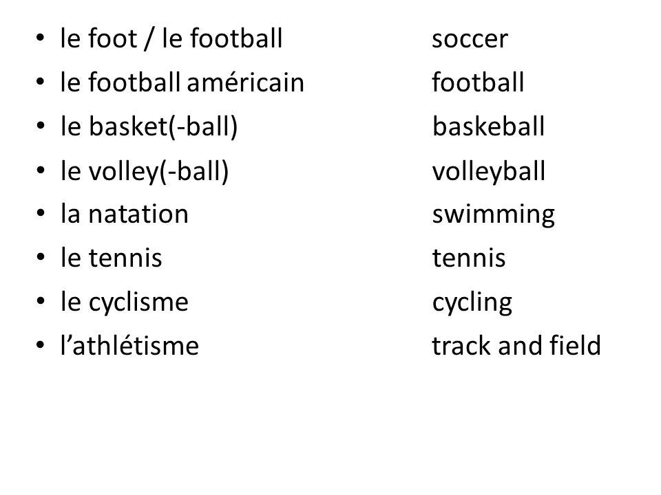 jouer (à/au)to play un joueur / une joueusea player un ballona ball gagnerto win perdreto lose un vélo / une bicyclettea bicycle