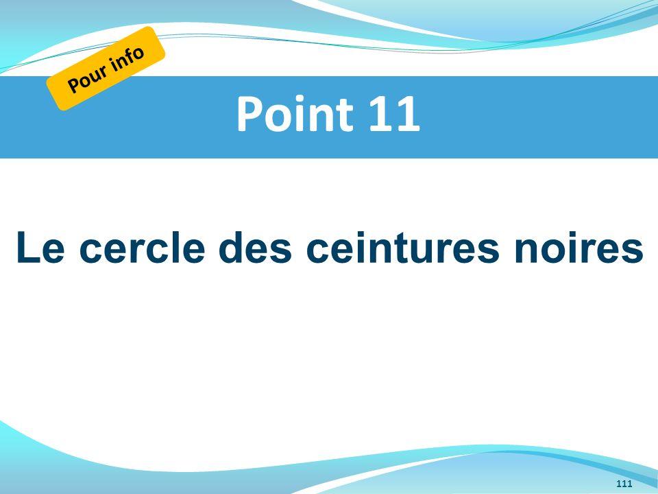 Le cercle des ceintures noires Point 11 Pour info 111