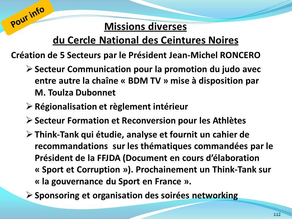 Missions diverses du Cercle National des Ceintures Noires Création de 5 Secteurs par le Président Jean-Michel RONCERO Secteur Communication pour la pr