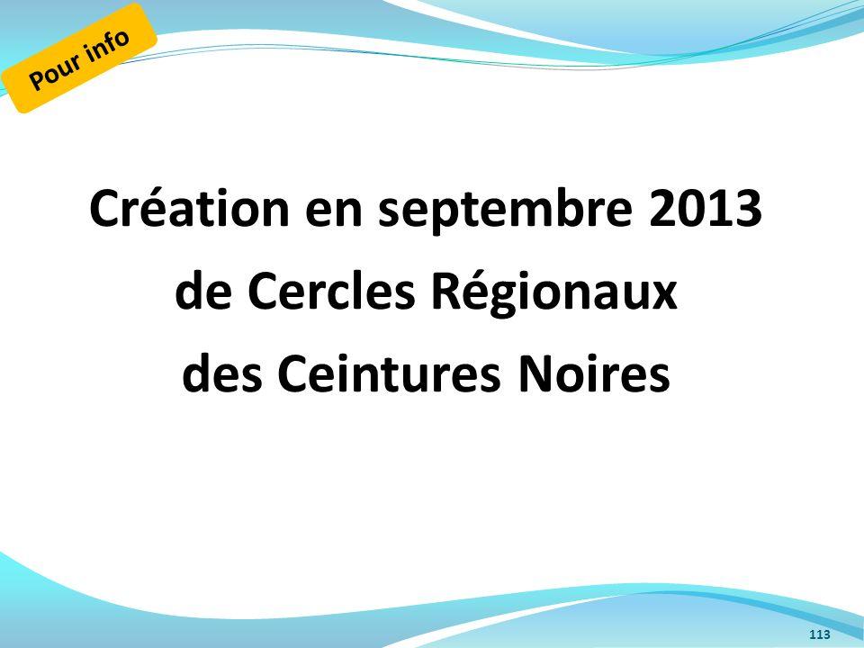 Création en septembre 2013 de Cercles Régionaux des Ceintures Noires 113 Pour info