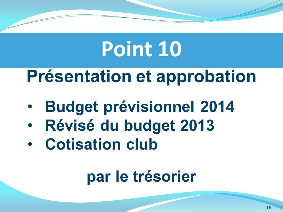 Présentation et approbation Budget prévisionnel 2014 Révisé du budget 2013 Cotisation club par le trésorier Point 10 15