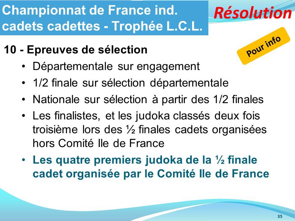 10 - Epreuves de sélection Départementale sur engagement 1/2 finale sur sélection départementale Nationale sur sélection à partir des 1/2 finales Les
