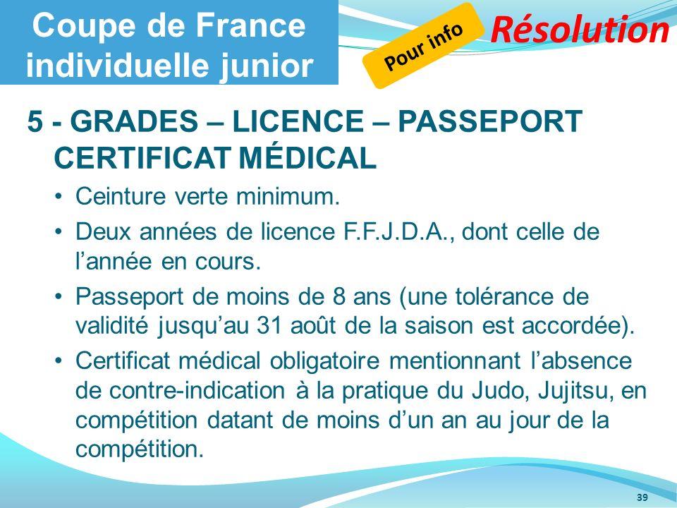 Coupe de France individuelle junior 5 - GRADES – LICENCE – PASSEPORT CERTIFICAT MÉDICAL Ceinture verte minimum. Deux années de licence F.F.J.D.A., don