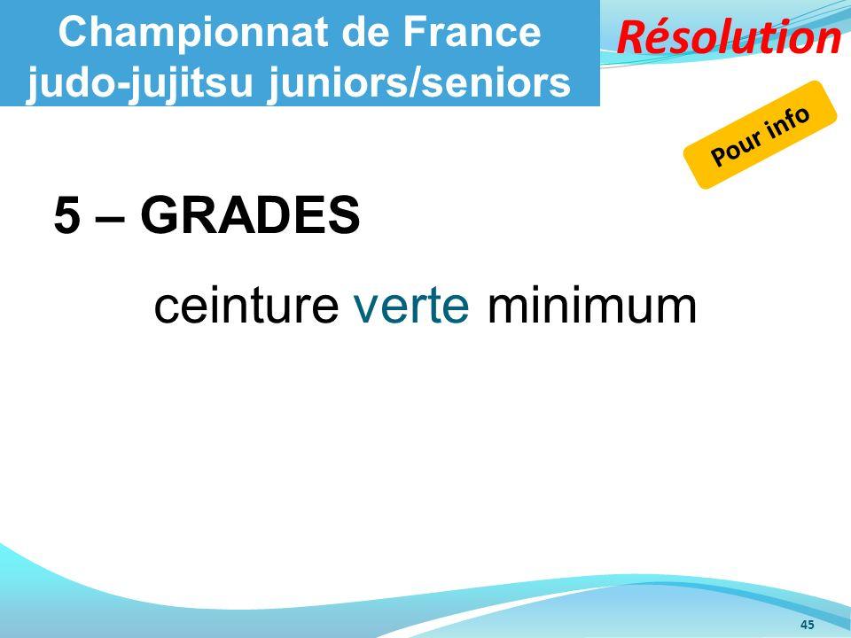 Championnat de France judo-jujitsu juniors/seniors 5 – GRADES ceinture verte minimum 45 Pour info Résolution