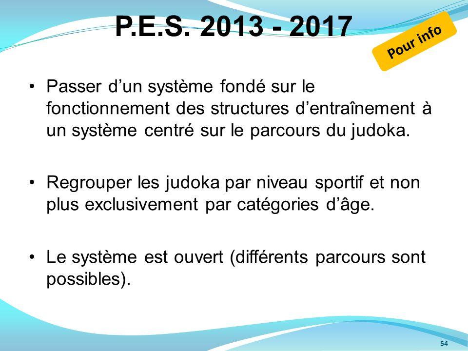 P.E.S. 2013 - 2017 Passer dun système fondé sur le fonctionnement des structures dentraînement à un système centré sur le parcours du judoka. Regroupe