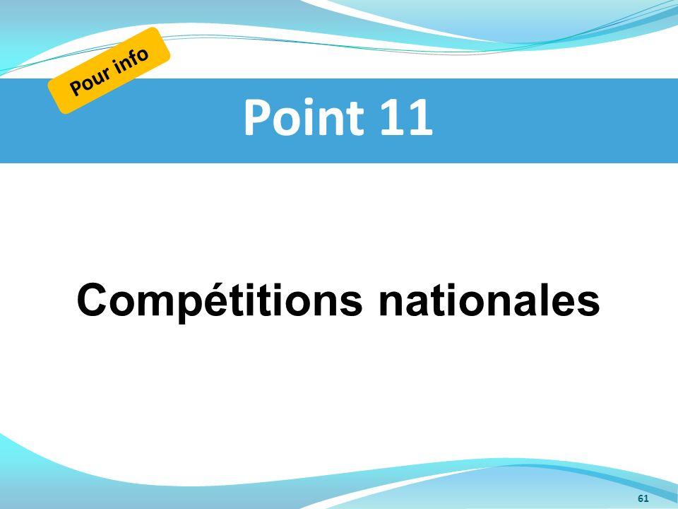Compétitions nationales Point 11 Pour info 61