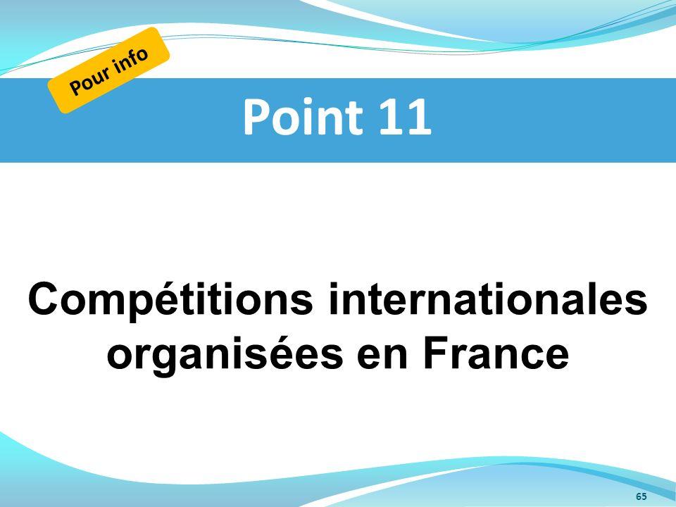 Compétitions internationales organisées en France Point 11 Pour info 65