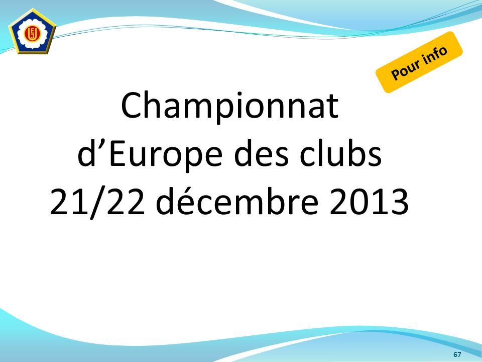 67 Championnat dEurope des clubs 21/22 décembre 2013 Pour info