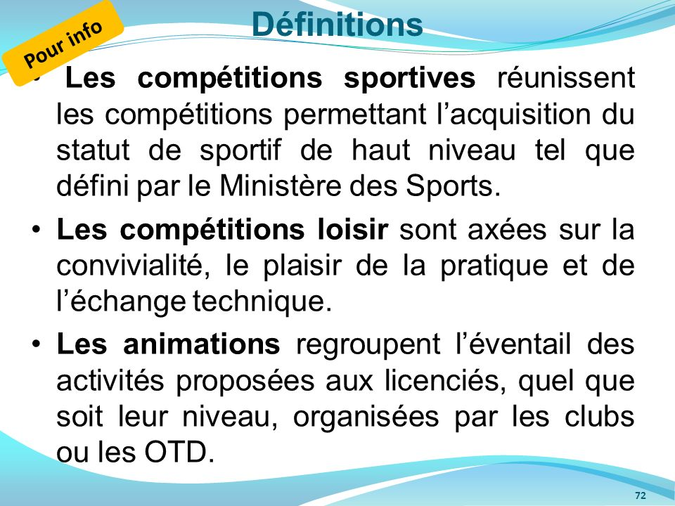 Définitions Les compétitions sportives réunissent les compétitions permettant lacquisition du statut de sportif de haut niveau tel que défini par le M