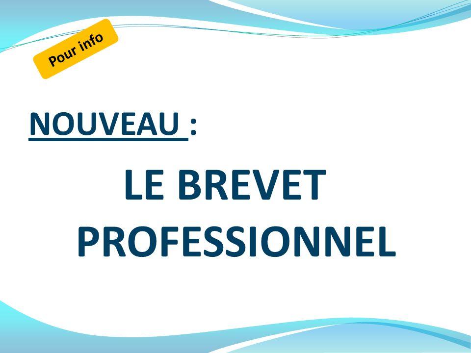 NOUVEAU : LE BREVET PROFESSIONNEL Pour info