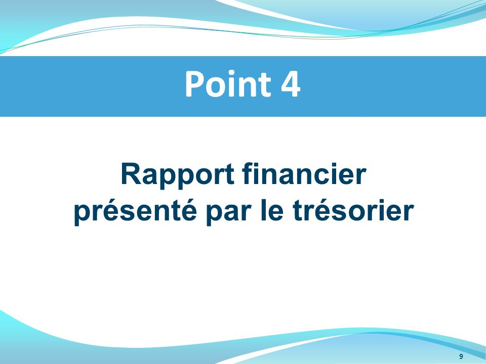 Rapport financier présenté par le trésorier Point 4 9