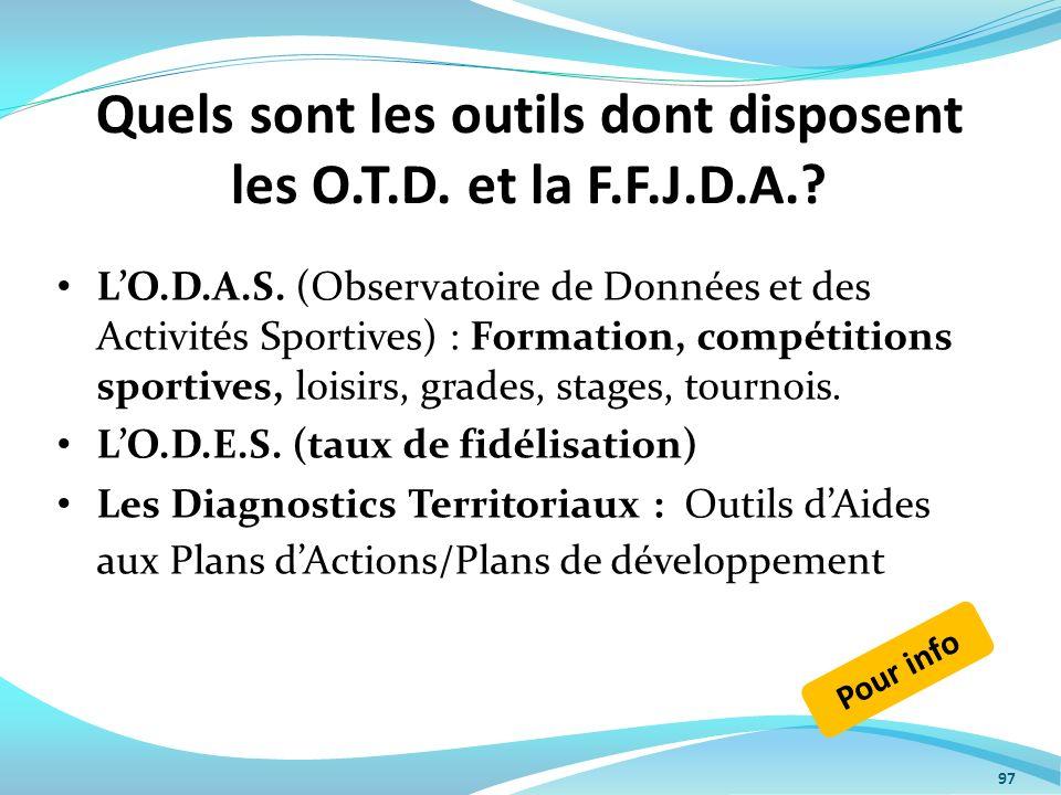 Quels sont les outils dont disposent les O.T.D. et la F.F.J.D.A.? LO.D.A.S. (Observatoire de Données et des Activités Sportives) : Formation, compétit