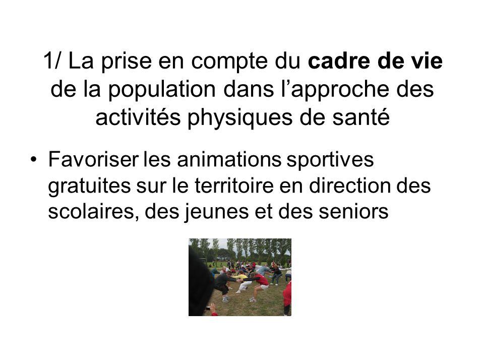 1/ La prise en compte du cadre de vie de la population dans lapproche des activités physiques de santé Favoriser les animations sportives gratuites su