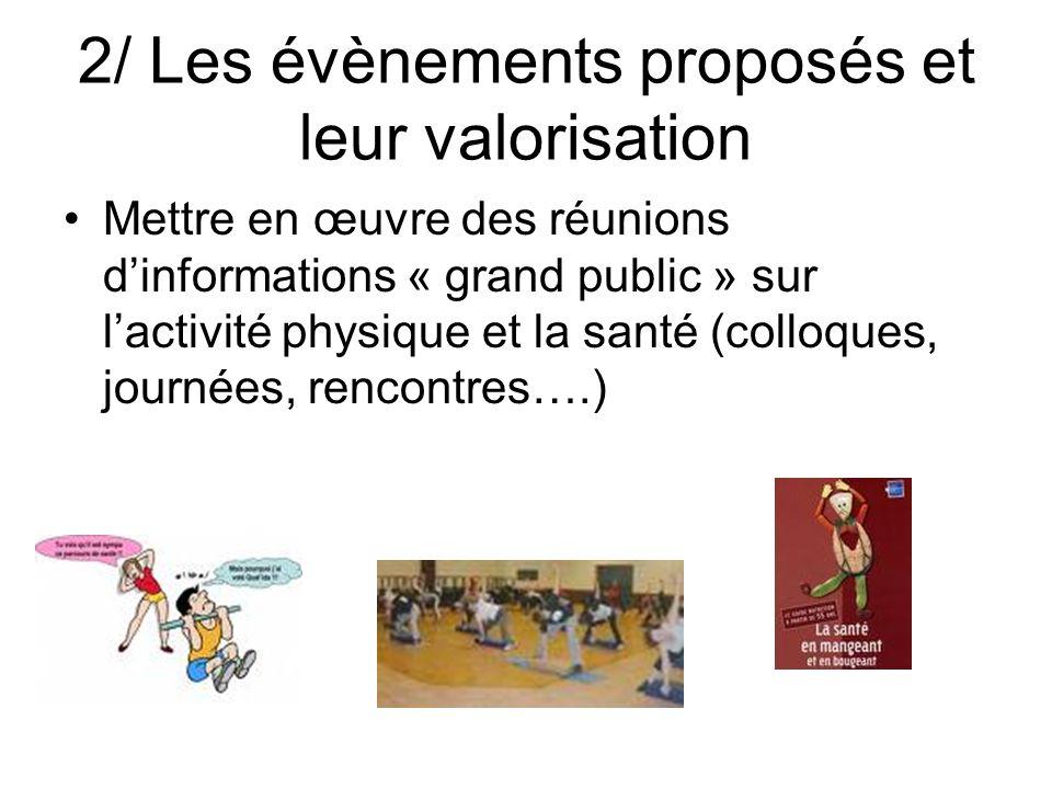 2/ Les évènements proposés et leur valorisation Mettre en œuvre des réunions dinformations « grand public » sur lactivité physique et la santé (colloq