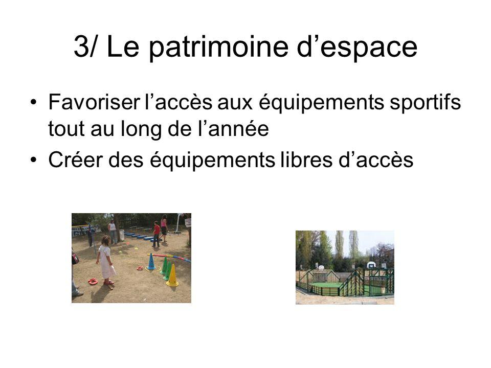 3/ Le patrimoine despace Favoriser laccès aux équipements sportifs tout au long de lannée Créer des équipements libres daccès