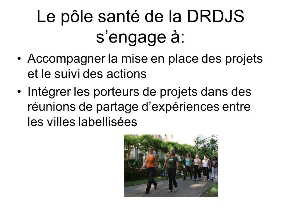 Le pôle santé de la DRDJS sengage à: Accompagner la mise en place des projets et le suivi des actions Intégrer les porteurs de projets dans des réunio