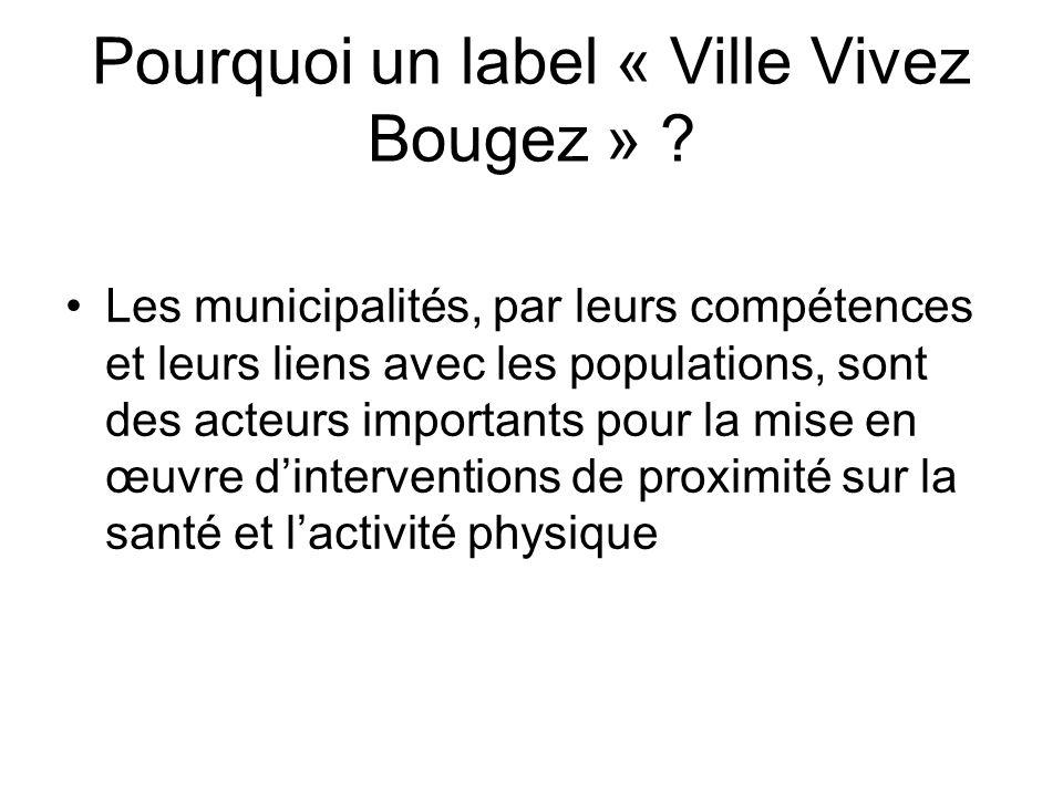 Pourquoi un label « Ville Vivez Bougez » ? Les municipalités, par leurs compétences et leurs liens avec les populations, sont des acteurs importants p