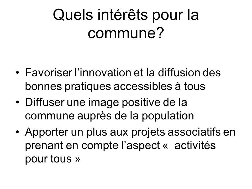Quels intérêts pour la commune? Favoriser linnovation et la diffusion des bonnes pratiques accessibles à tous Diffuser une image positive de la commun
