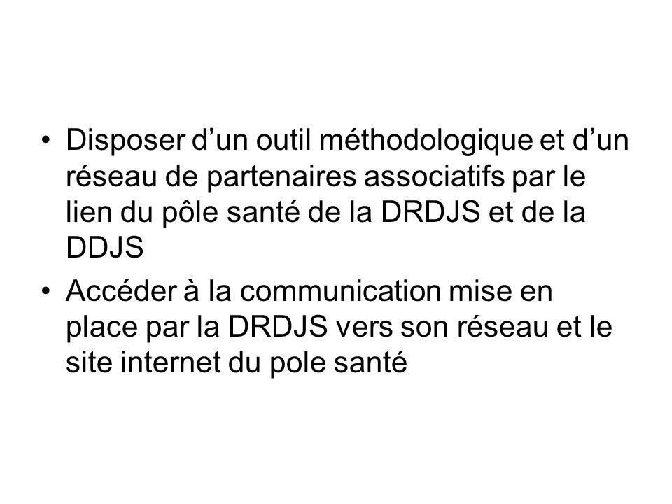 Disposer dun outil méthodologique et dun réseau de partenaires associatifs par le lien du pôle santé de la DRDJS et de la DDJS Accéder à la communicat