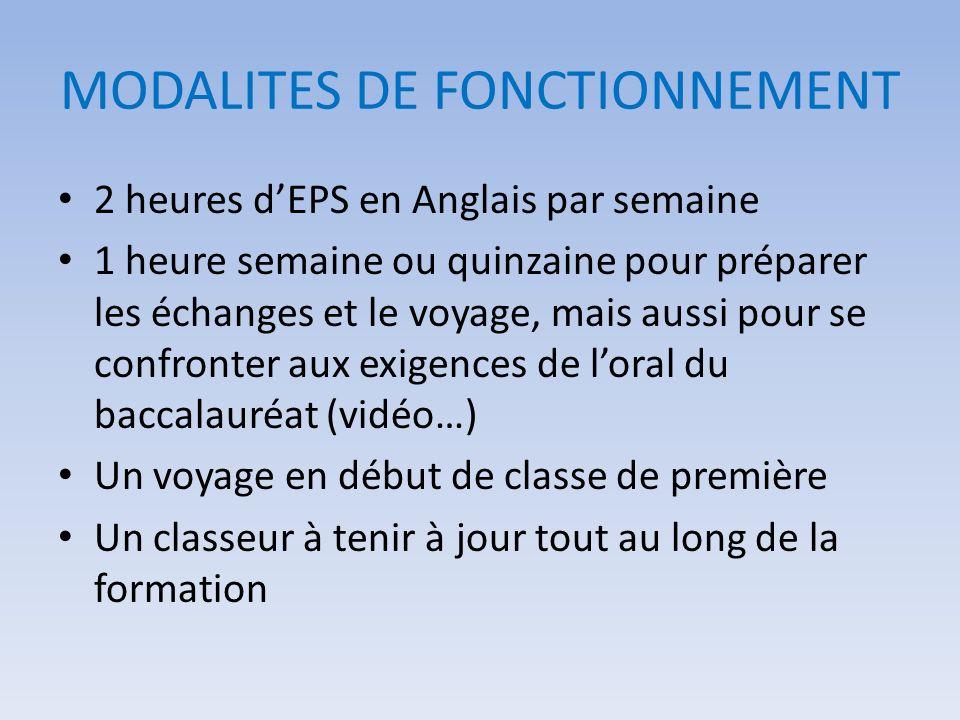 MODALITES DE FONCTIONNEMENT 2 heures dEPS en Anglais par semaine 1 heure semaine ou quinzaine pour préparer les échanges et le voyage, mais aussi pour