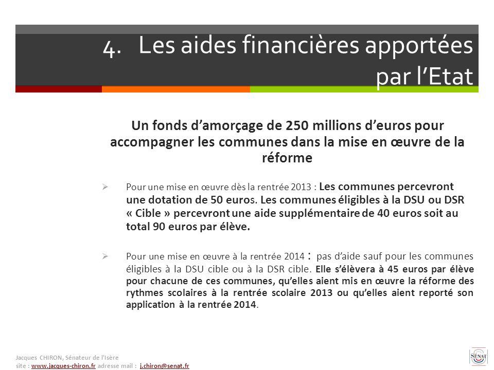 4. Les aides financières apportées par lEtat Un fonds damorçage de 250 millions deuros pour accompagner les communes dans la mise en œuvre de la réfor