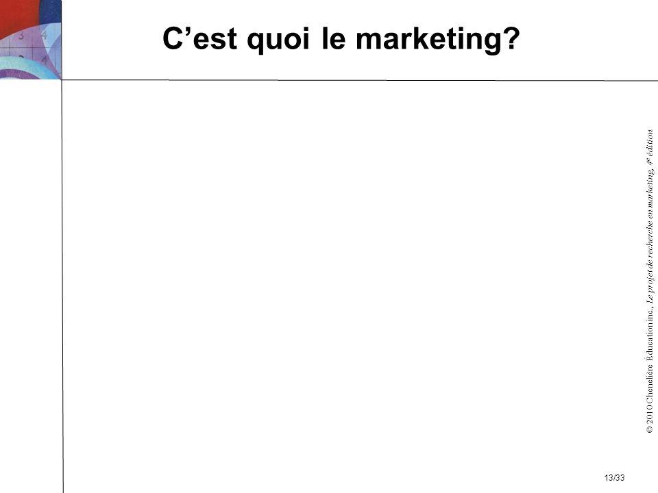 © 2010 Chenelière Éducation inc., Le projet de recherche en marketing, 4 e édition Cest quoi le marketing? 13/33