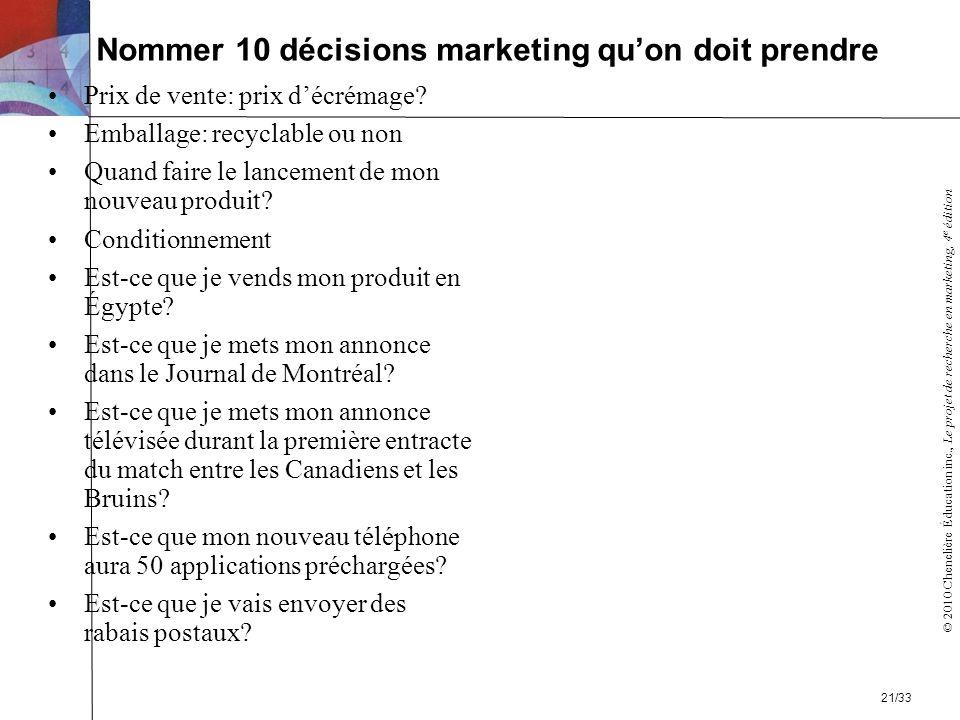© 2010 Chenelière Éducation inc., Le projet de recherche en marketing, 4 e édition Nommer 10 décisions marketing quon doit prendre Prix de vente: prix