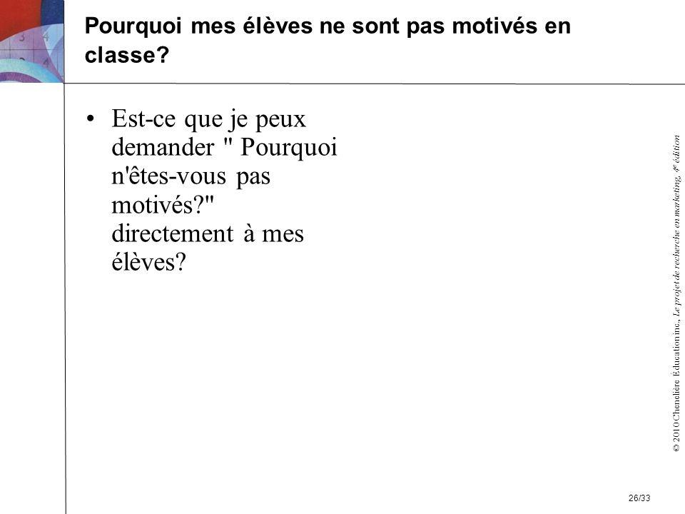 © 2010 Chenelière Éducation inc., Le projet de recherche en marketing, 4 e édition Est-ce que je peux demander