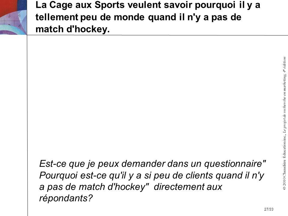 © 2010 Chenelière Éducation inc., Le projet de recherche en marketing, 4 e édition La Cage aux Sports veulent savoir pourquoi il y a tellement peu de