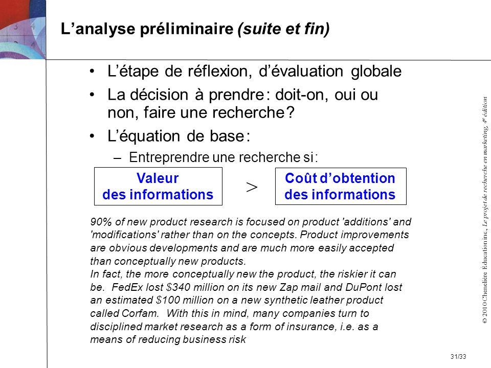 © 2010 Chenelière Éducation inc., Le projet de recherche en marketing, 4 e édition Lanalyse préliminaire (suite et fin) Létape de réflexion, dévaluati