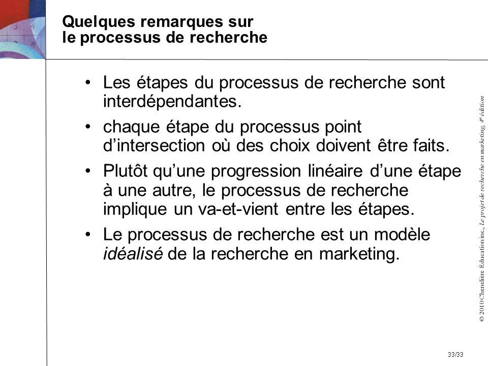 © 2010 Chenelière Éducation inc., Le projet de recherche en marketing, 4 e édition Quelques remarques sur le processus de recherche Les étapes du proc