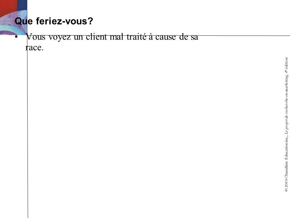 © 2010 Chenelière Éducation inc., Le projet de recherche en marketing, 4 e édition Que feriez-vous? Vous voyez un client mal traité à cause de sa race