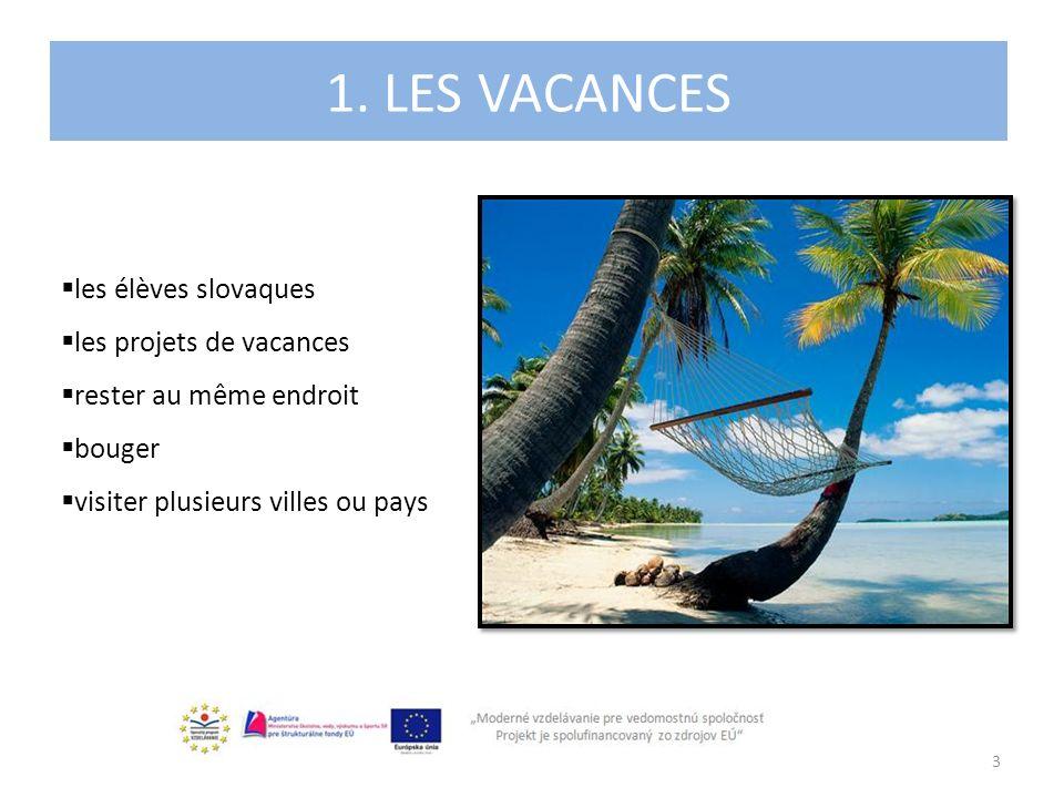 1. LES VACANCES 3 les élèves slovaques les projets de vacances rester au même endroit bouger visiter plusieurs villes ou pays