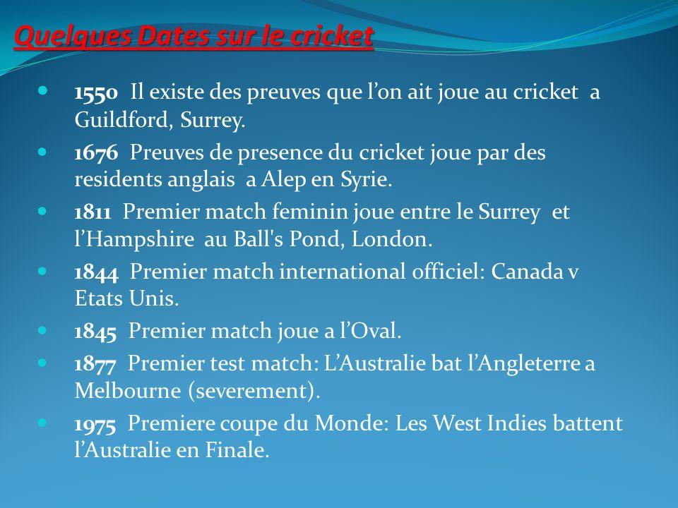 Quelques Dates sur le cricket 155 0 Il existe des preuves que lon ait joue au cricket a Guildford, Surrey. 1676 Preuves de presence du cricket joue pa