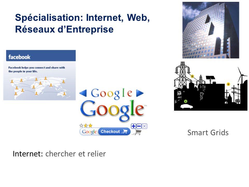 Spécialisation: Internet, Web, Réseaux dEntreprise Internet: chercher et relier Réseau de Transaction Mondial Smart Grids