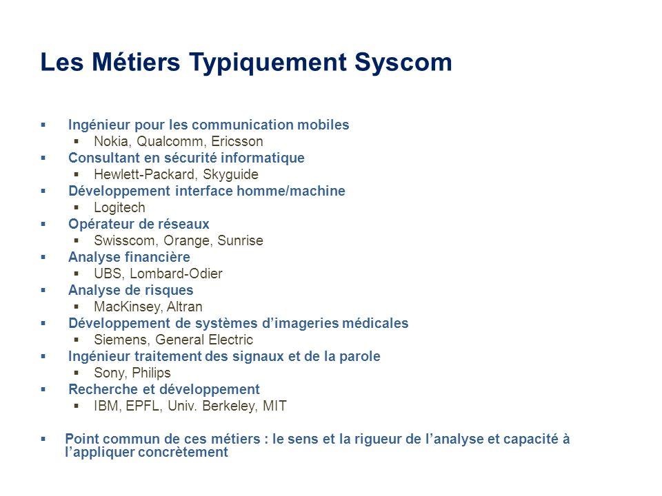 Les Métiers Typiquement Syscom Ingénieur pour les communication mobiles Nokia, Qualcomm, Ericsson Consultant en sécurité informatique Hewlett-Packard,