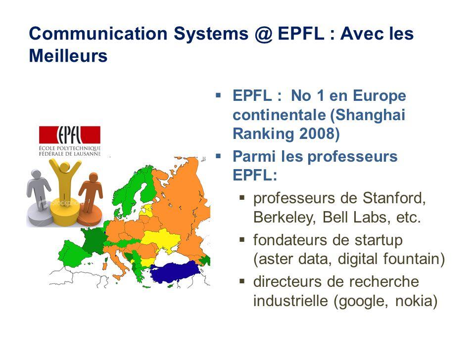 Communication Systems @ EPFL : Avec les Meilleurs EPFL : No 1 en Europe continentale (Shanghai Ranking 2008) Parmi les professeurs EPFL: professeurs d