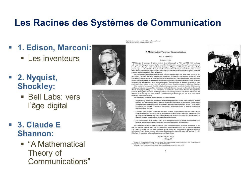 Les Racines des Systèmes de Communication 1. Edison, Marconi: Les inventeurs 2. Nyquist, Shockley: Bell Labs: vers lâge digital 3. Claude E Shannon: A