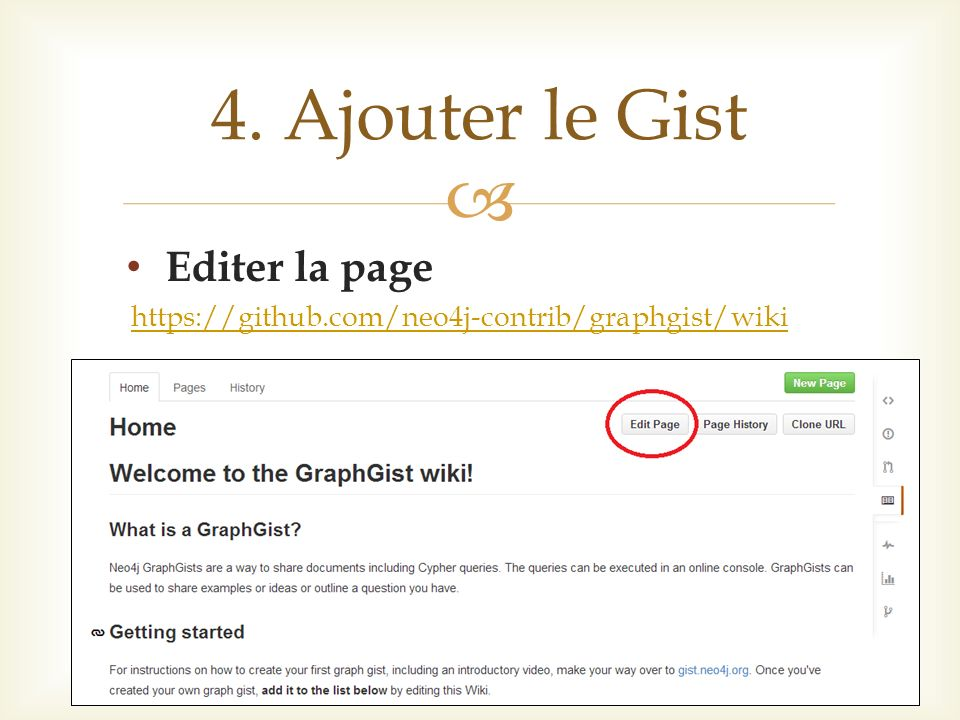 Editer la page https://github.com/neo4j-contrib/graphgist/wiki 4. Ajouter le Gist